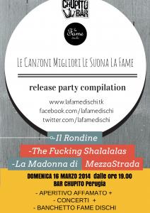 """La Fame Dischi festeggia la compilation """"Le Canzoni Migliori Le Aiuta La Fame VOL.2"""", Domenica 16 Marzo Bar Chupito Perugia"""