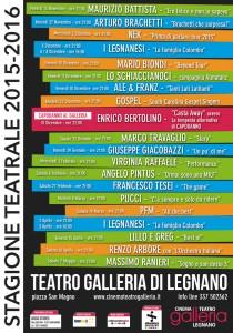 ALBACHIARA SPETTACOLI  & ZODIAK srl presentano stagione 2015 / 2016 TEATRO GALLERIA Legnano http://www.teatrogalleria.it/