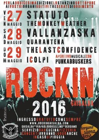 Da venerdì 29 maggio a domenica 31 maggio  appuntamento a Gisalba (BG)  Area Feste Borsellino  http://www.rockinghisalba.com/dove/     per  RockinGhisalba