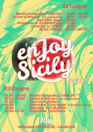 EnJoy Sicily… venerdì 22 e sabato 23 giugno, al Joy di Milano, due giorni interi dedicati alla Sicilia… street food siculo, musica, mostre fotografiche, concerti