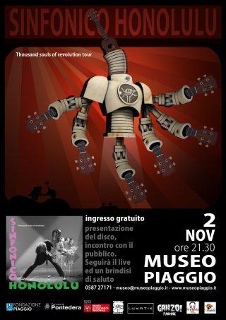 """Venerdì 2 novembre, al Museo Piaggio di Pontedera (PI), i Sinfonico Honolulu eseguiranno dal vivo il loro nuovo disco """"Thousands Souls of Revolution"""""""